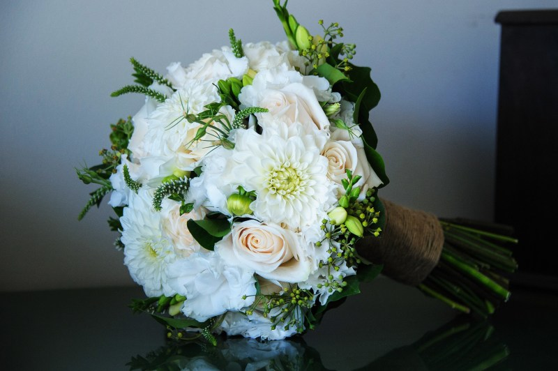 Wedding bouquet Dahlias Lisianthus Ivory Roses by Your Floral Indulgence penrith