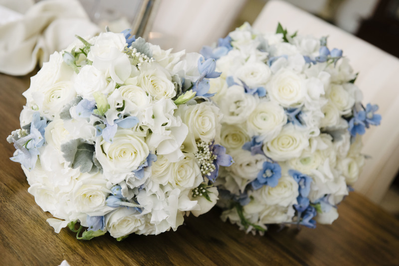 Tara Pale Blue and White Bridal Bouquet