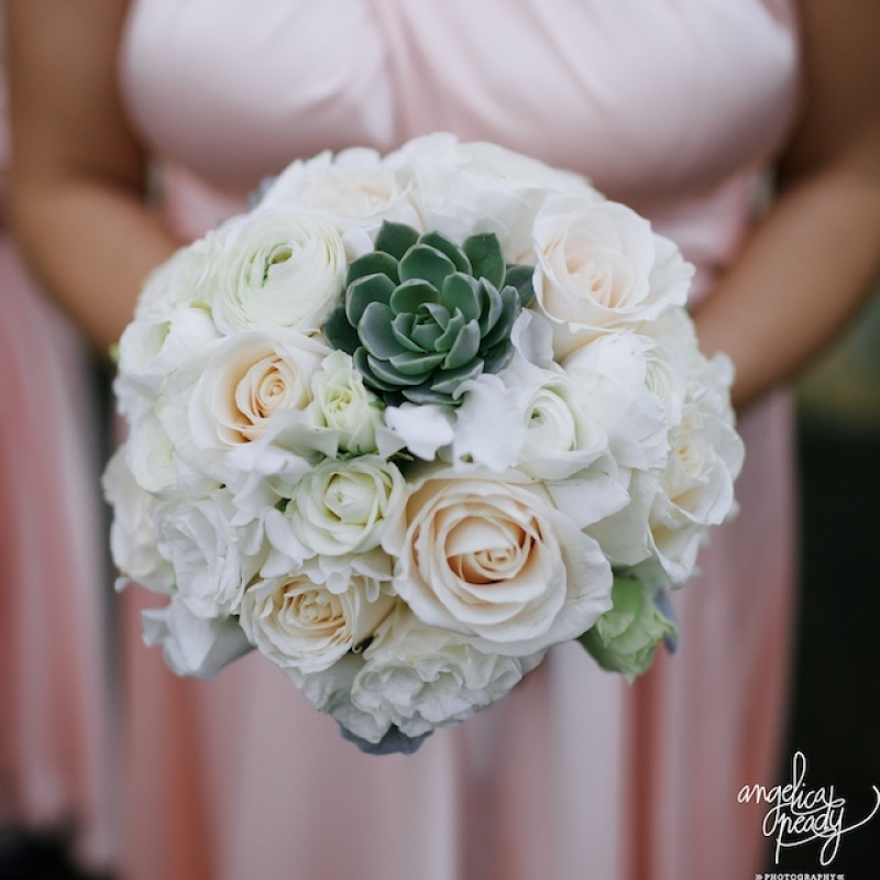 Wedding bouquet with green succulents