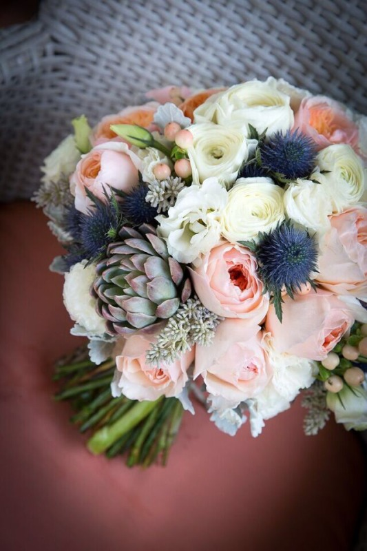 Peach white blue wedding bouquet by Your Floral Indulgence Penrith
