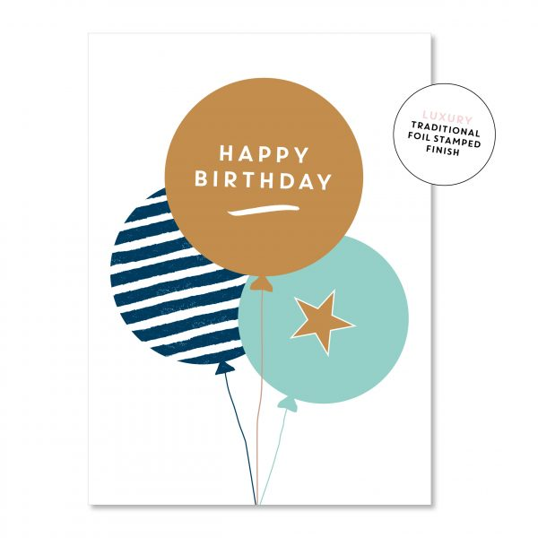 Quirky Blue Birthday Balloons Premium Greeting Card